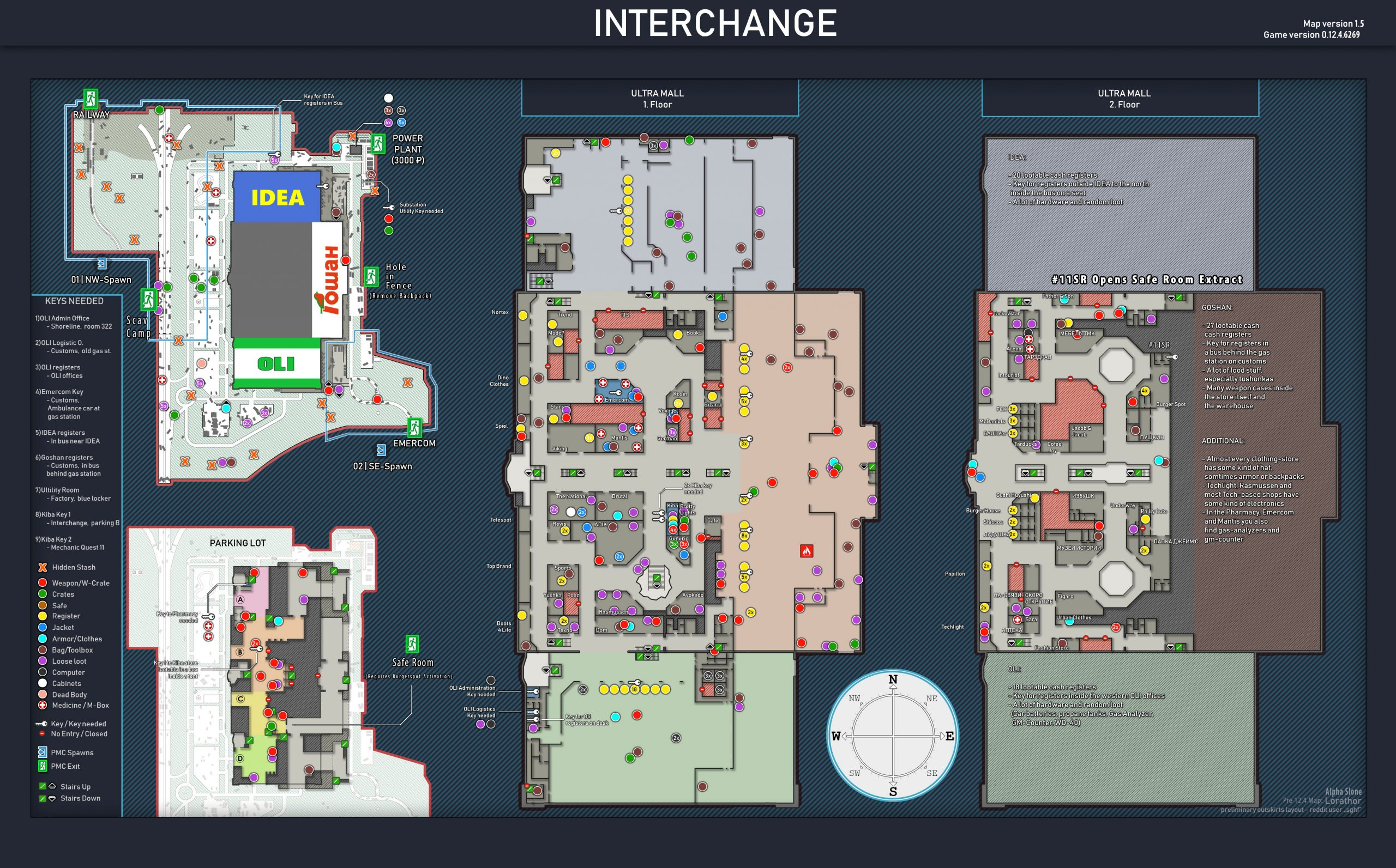 Tarkov Helper App | Interchange whole map all floors current