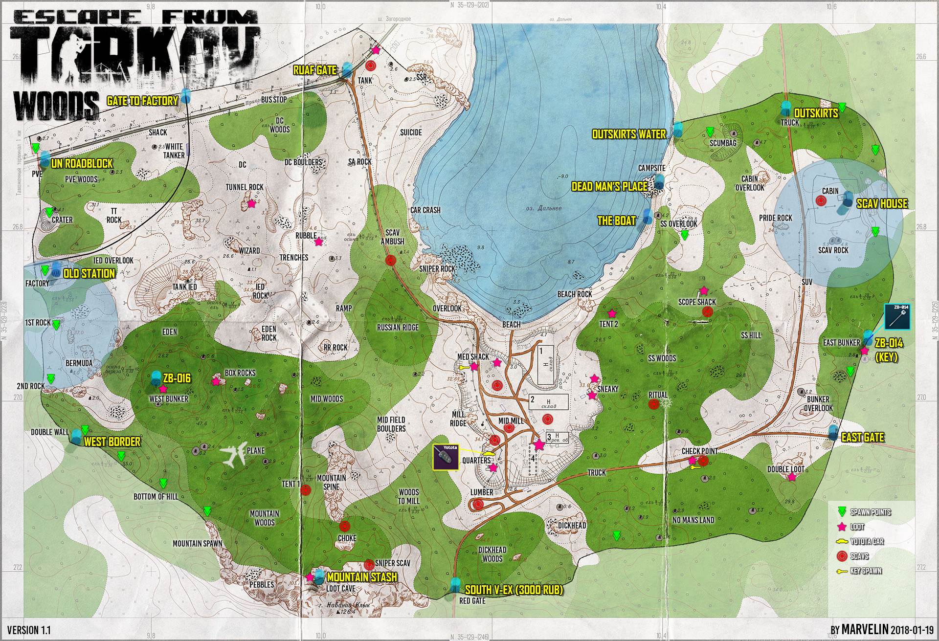 Tarkov Helper App | Woods map